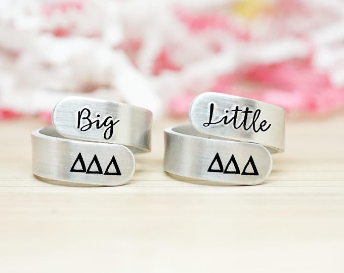 Tri Delta Big Little Wrap Ring Set - ΔΔΔ Big Little Sorority - Official Licensed Product - Delta Delta Delta Big Little Reveal