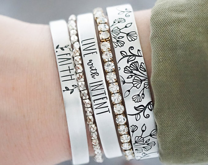 Hand Stamped Cuff Bracelet - Faith Cross Jewelry - Live with Intent - Intention - Floral Bracelet - Floral Accent Jewelry - Stackable