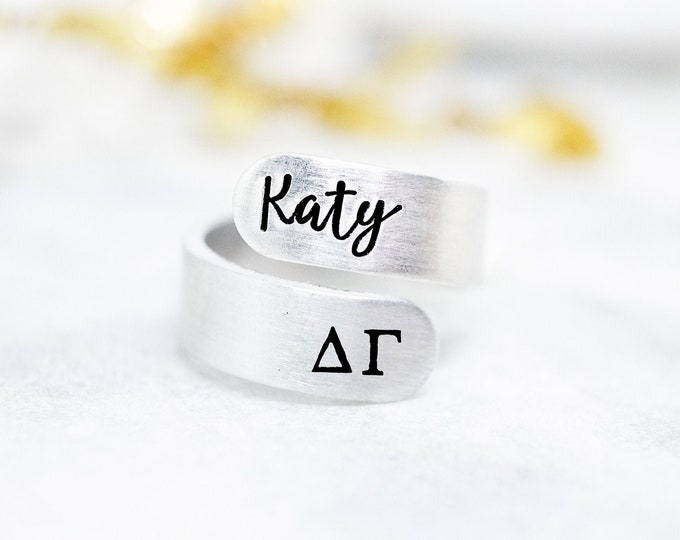 Delta Gamma Sorority Custom Name Ring - Delta Gamma Ring - Delta Gamma Mom - DG Sorority Gift - Big Little Reveal - Big Little Gift - Bulk