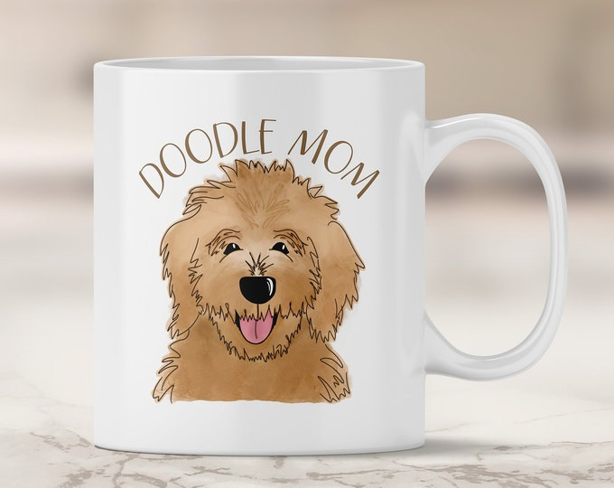 Brown Doodle Mom Mug - Goldendoodle Mom - Labradoodle - Brown Labradoodle - Dog Mom Mug - Dog Mom Gift - Fur Mom - Doodle Dog Mom