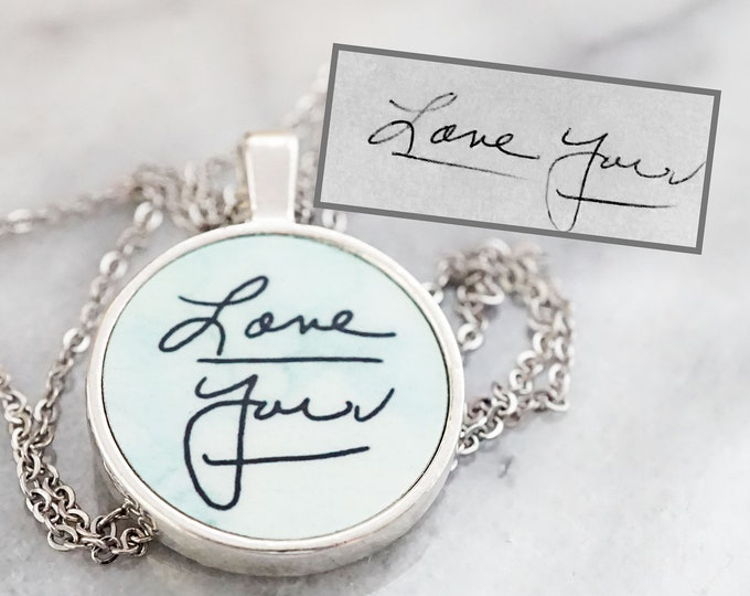 Personalized Handwriting Necklace - Pendant Necklace - Memorial Necklace - Kids Handwriting - Kids Drawings - Loved One Handwriting