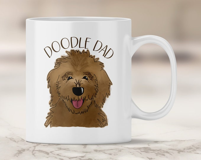 Chocolate Doodle Dad Mug - Dark Brown Golden Doodle - Chocolate Brown Doodle - Chocolate Labradoodle - Chocolate Lab - Labradoodle