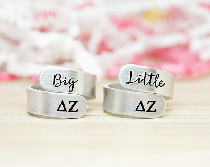 Delta Zeta Big Little Wrap Ring Set - ΔZ Big Little Sorority - Official Licensed Product - DZ Big Little Reveal - Hand Stamped Rings