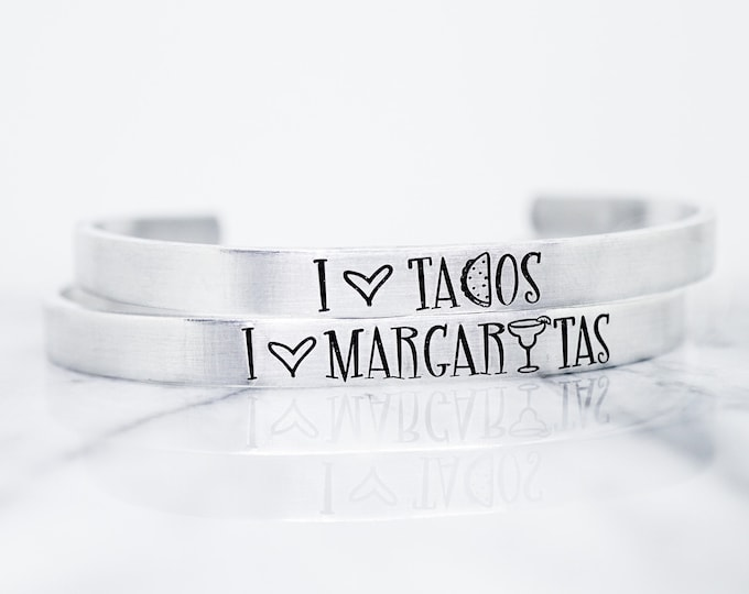 Taco Tuesday Cuff Bracelet Set - Margarita Monday - I love Margaritas - I love Tacos - Tacos and Margaritas - Funny Margarita Jewelry