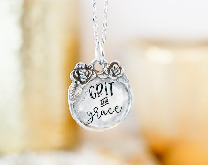 Grit and Grace Floral Pewter Necklace - Inspirational Jewelry - Gifts for Her - Gifts for Women - Dainty Necklace - Hand Stamped Quotes