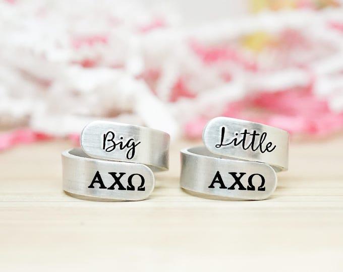 Alpha Chi Omega Big Little Wrap Ring Set - ΑΧΩ Big Little Sorority - Official Licensed Product - Big Little Reveal - Hand Stamped