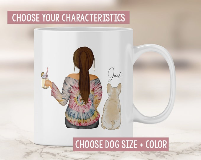 Dog Mom Mug - French Bulldog Mom - Frenchie - Frenchie Mom Mug - Dog Mom Gift - Fur Mom - Girl with Dog Mug - Mother's Day Gift