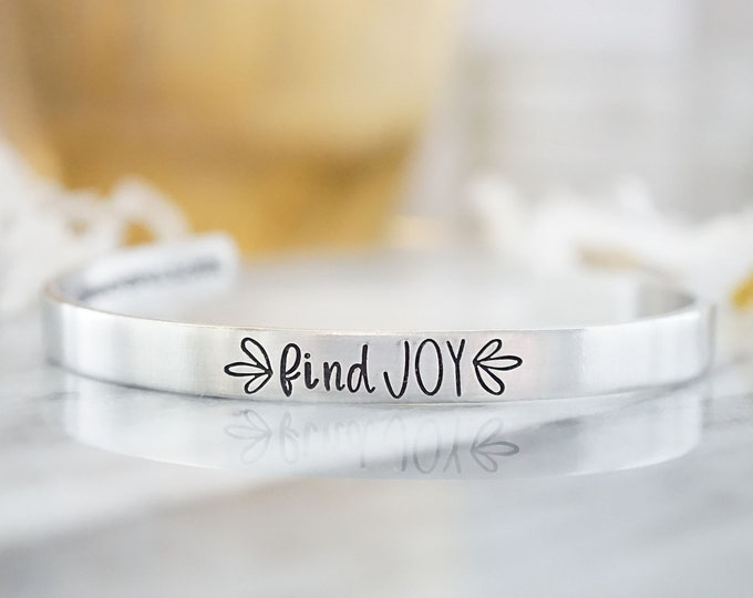 Find Joy Cuff Bracelet - Cannonballs Collection - Cannonballs for Kayne - Pediatric Brain Cancer - DIPG - Cuffs for a Cause