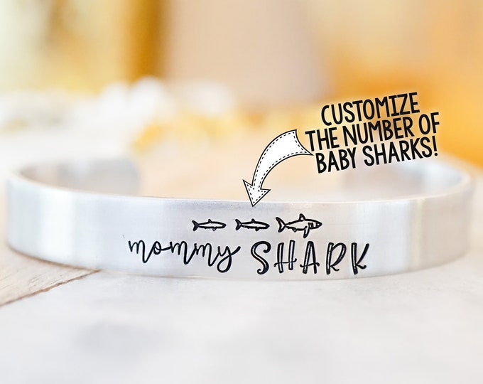 Mommy Shark Baby Shark Cuff Bracelet - Mother's Day - Funny Mom Gift - Doo Doo Doo - Gifts for Mom - Hand Stamped
