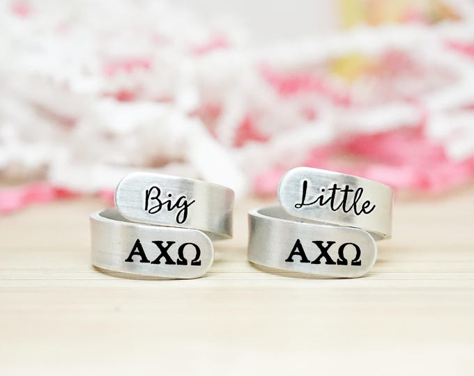 Big Little Wrap Ring Set - Big Little Sorority - Official Licensed Product - Sorority Rush - Big Little Reveal - Hand Stamped Silver Rings