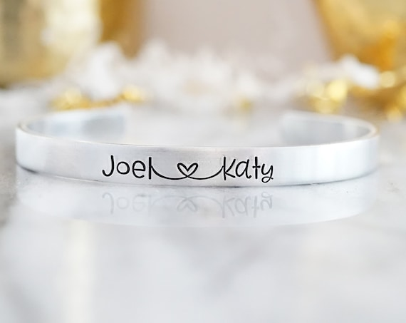 Personalized Couples Cuff Bracelet - Gifts for Girlfriend - Gift for Wife - Name Cuff - Hand Stamped - Gifts for Women - Silver Jewelry