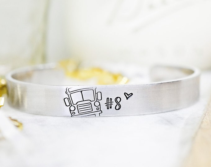 Bus Driver Cuff Bracelet - Bus Number - Bus Driver Gift - New School Year - End of the Year Gift for Bus Driver - Silver tone Cuff Bracelet