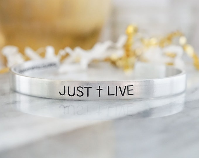 Just Live Cuff Bracelet - Cannonballs Collection - Cannonballs for Kayne - Pediatric Brain Cancer - DIPG - Cuffs for a Cause