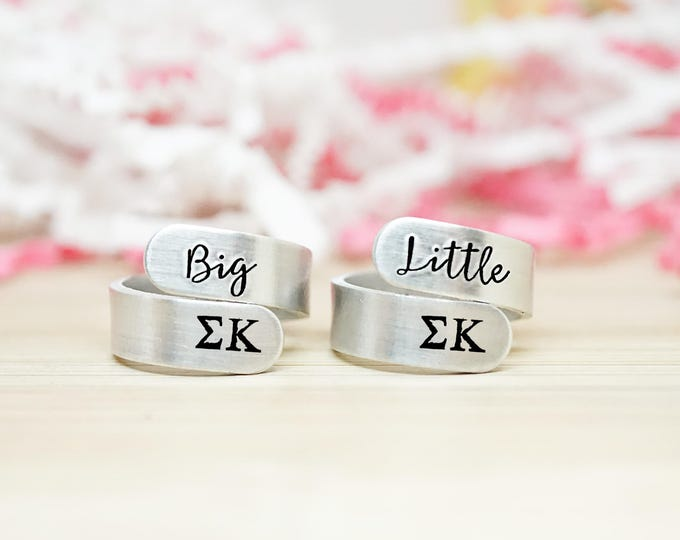 Sigma Kappa Big Little Wrap Ring Set - ΣΚ Big Little Sorority - Official Licensed Product - Big Little Reveal - Hand Stamped Wrap Rings
