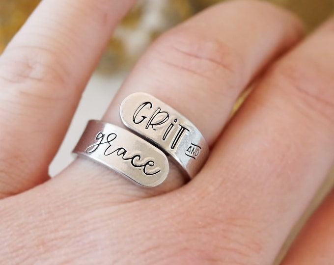 Grit and Grace Ring - Entrepreneur Jewelry - Gifts for Her - Gifts for Women - Inspirational Gift Ideas - Motivational - Silvertone