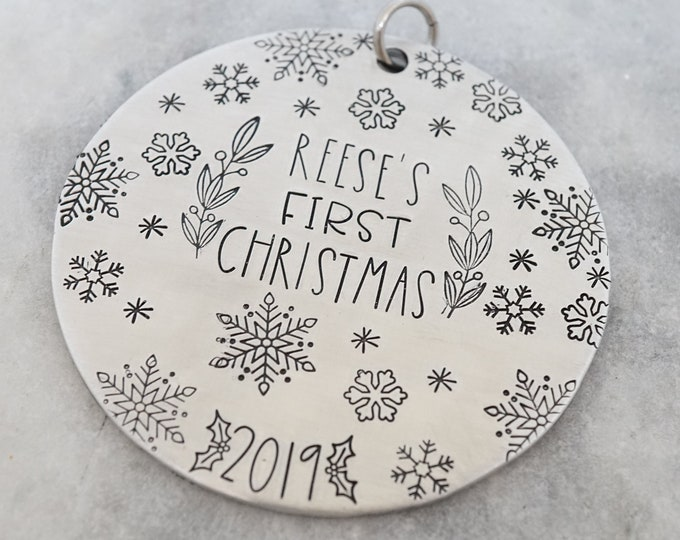 Baby's First Christmas Ornament - 2019 Custom Ornament - Christmas Ornament - New Baby - Hand Stamped - Silver Tree Decorations