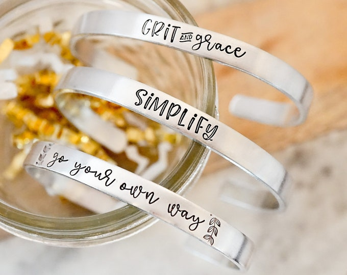 Motivational Cuff Bracelet - Gifts for Her - Simplify Bracelet - Grit and Grace - Go Your Own Way - Inspirational Gift