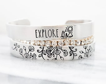 Explore Mountainscape Cuff Bracelet - Floral Cuff Bracelet - Gifts for Her - Hiking - Mountain Range - Stacking Jewelry - Accent Jewelry