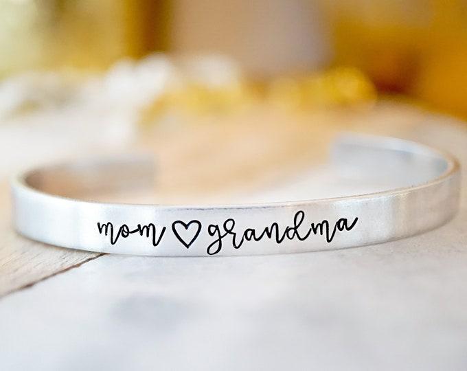 Mom Grandma Cuff Bracelet - Gift for Mom - Gift for Grandma - Grandparent's Day - Mother's Day Gift - Silvertone Adjustable Bracelet