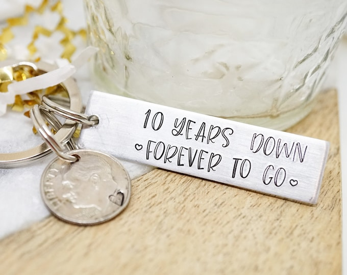 10th Anniversary Dime Key Chain - Anniversary Gift - 10 Year Anniversary - Gifts for Men - Marriage Anniversary - Hand Stamped Key Chain