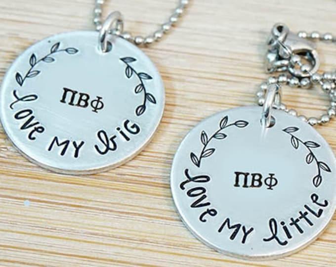 Pi Beta Phi  Big Little Necklace Set - ΠΒΦ Big Little Sorority Necklace - Pi Phi Big Little Reveal - Bid Day - Official Licensed Product