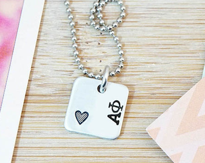 Alpha Phi Necklace - Official Licensed Product - ΑΦ Necklace - Sorority Big Little - Bid Day Gift - Hand Stamped Silver Necklace