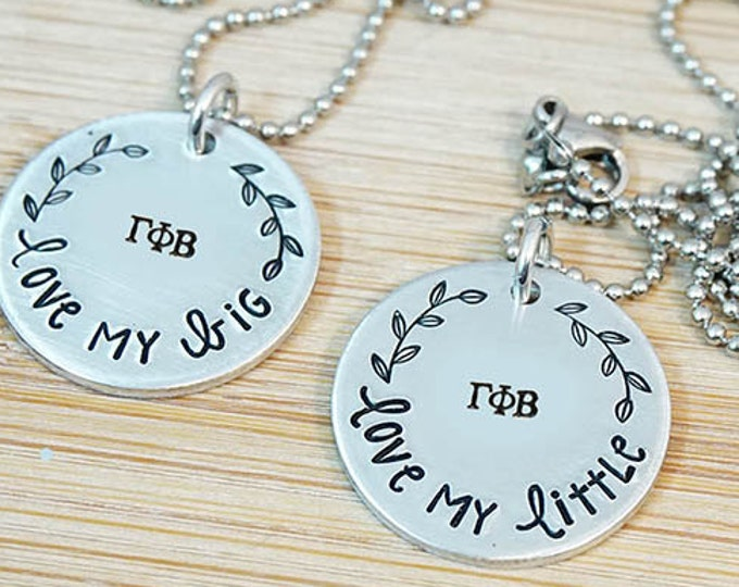 Gamma Phi Beta Big Little Necklace Set - ΓΦΒ Big Little Sorority Necklace - Bid Day Gift - Big Little Reveal - Official Licensed Product