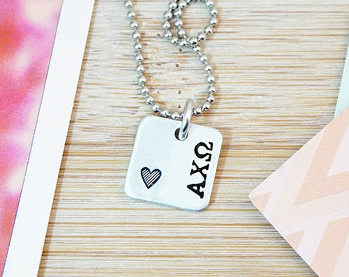 Alpha Chi Omega Necklace - Official Licensed Product - ΑΧΩ Necklace - Sorority Big Little - Bid Day Gift - Hand Stamped Silver Necklace