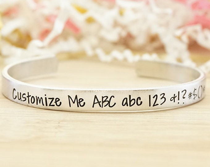 Custom Hand Stamped Cuff - Personalized Bracelet - Non Tarnish -  Hypoallergenic - Aluminum - Hand Stamped Silver Cuff Bracelet