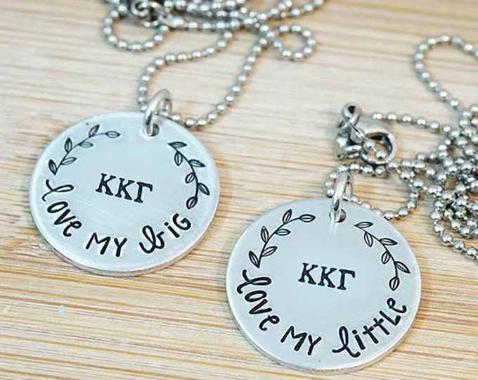 Kappa Kappa Gamma Big Little Necklace Set - ΚΚΓ Big Little Sorority Necklace - Big Little Reveal - Bid Day Gift - Official Licensed Product