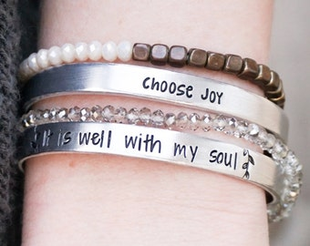 Motivational Bracelet - Choose Joy - It is Well With my Soul - Religious Jewelry - Motivational Jewelry - Hand Stamped Silver Cuff Bracelet