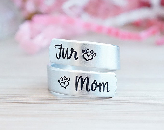 Fur Mom Adjustable Wrap Ring - Gifts for Fur Mom - Gifts for Dog Mom - Gifts for Cat Mom - I love my Pets - Pet Mom Gift