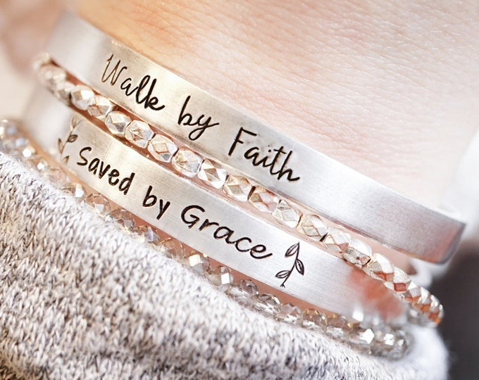 Religious Cuff Bracelet - Saved by Grace - Walk by Faith - Faith Jewelry - Baptism Gift - Graduation Gift - Confirmation - Hand Stamped