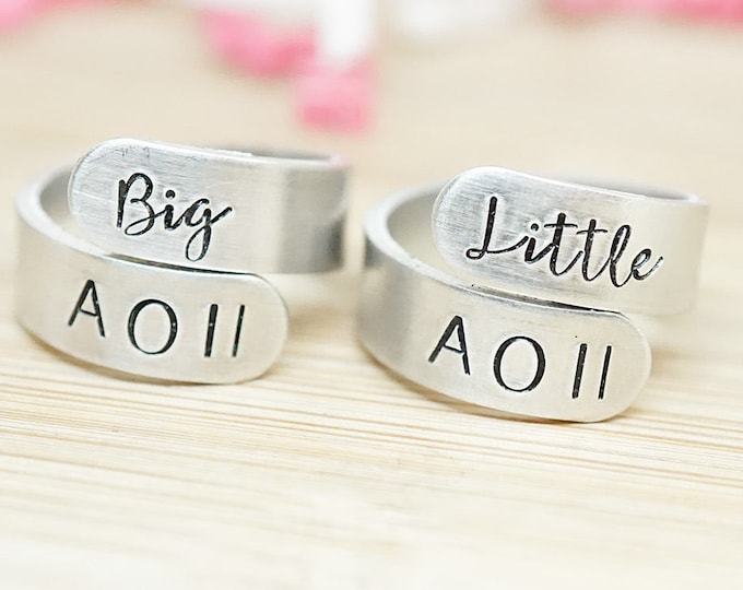 Alpha Omicron Pi Big Little Wrap Ring Set - ΑΟΠ Big Little Sorority - Official Licensed Product - AOII Big Little Reveal - Hand Stamped