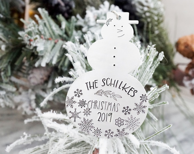 Personalized Snowman Christmas Ornament - Custom Ornament - Family Name - Hand Stamped - Silver Tree Decorations - Family Ornament - Yearly