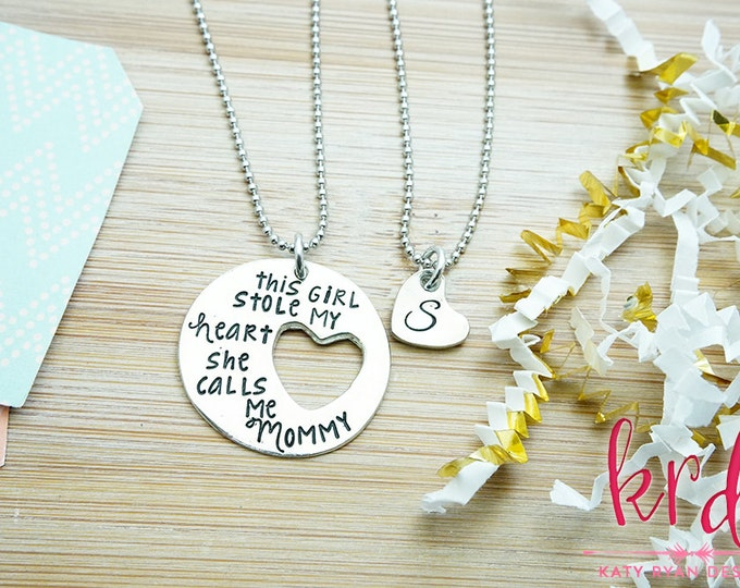 Mother Daughter Necklace Set - This Girl Stole my Heart She Calls me Mommy - Mommy Jewelry - Hand Stamped Silver Pewter Necklace