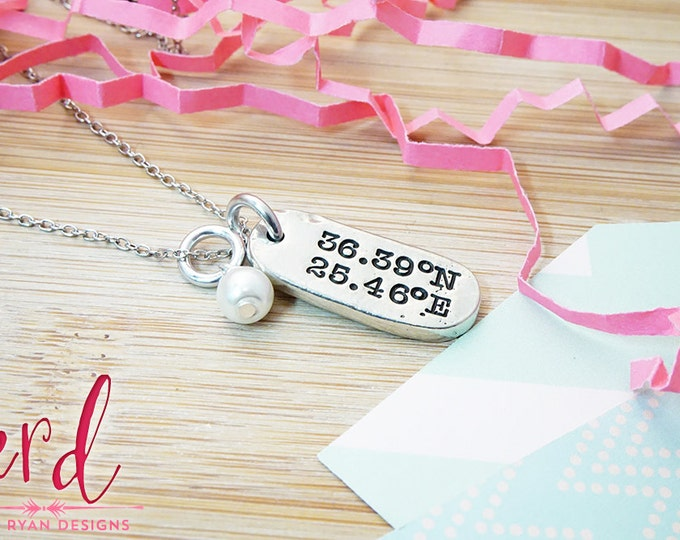 Custom Coordinates Pewter Necklace - Location Jewelry - Gifts Under 25 - Christmas Gifts for Her - Gifts for Girlfriend - Gift for Wife