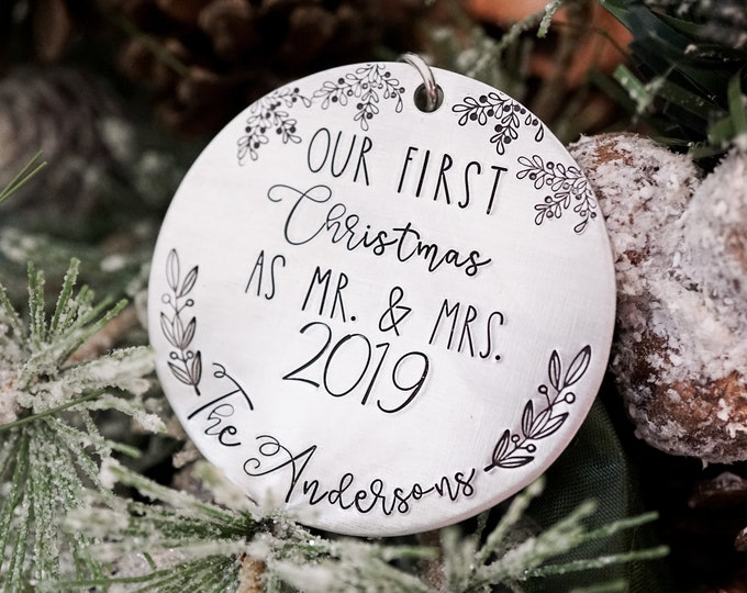 Our First Christmas as Mr. and Mrs. 2019 Ornament - Newlywed Gifts - Wedding Gift Ideas - First Christmas Married - Newly Married