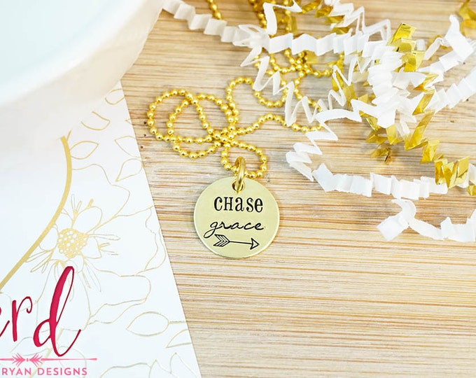 Chase Grace Necklace - Brass Gold Jewelry - Gold Necklace - Religious Jewelry - Gifts for Her - Gifts Under 25 - Hand Stamped Faith Necklace