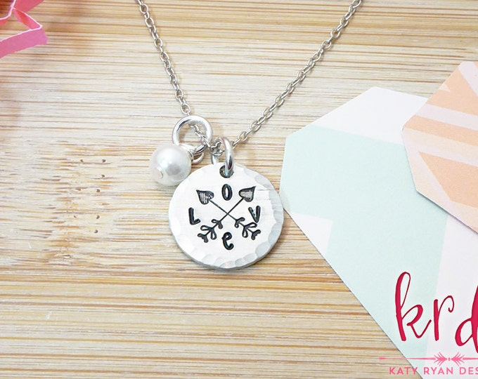 Love Necklace | Arrow Design | Crossed Arrows | Hand Stamped