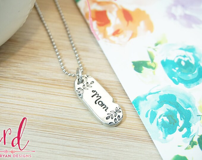 Pewter Mom Necklace - Mom Jewelry - Mom Necklace - Gifts for Mom - Mom Birthday Gift - Mother's Day - Hand Stamped Silver Pewter Necklace