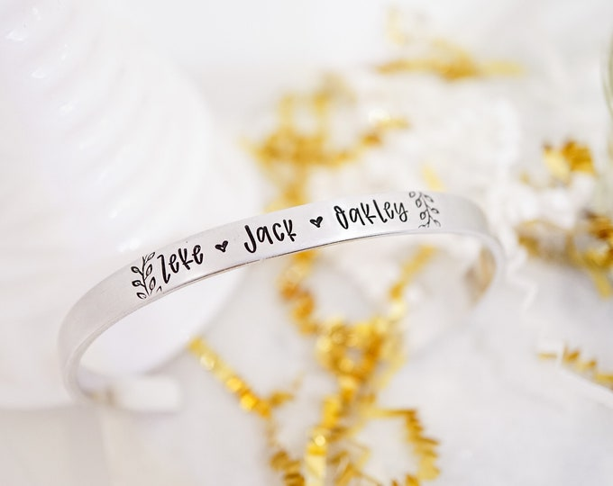 Custom Name Cuff - Hand Stamped Name Cuff - Personalized Jewelry - Mother's Day - Mom Gift - Grandma Gift - Kids Names