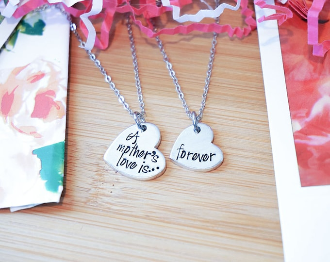 A Mother's Love is Forever Necklace Set - Mother Daughter Necklace Set - Mother's Day - Mommy Daughter - Hand Stamped Silver Necklace