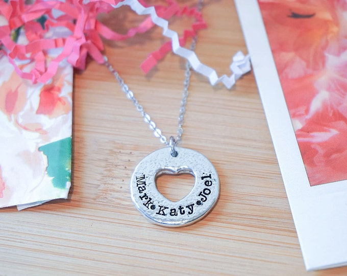 Family Name Necklace | Pewter Necklace | Heart Necklace | Name Jewelry | Hand Stamped