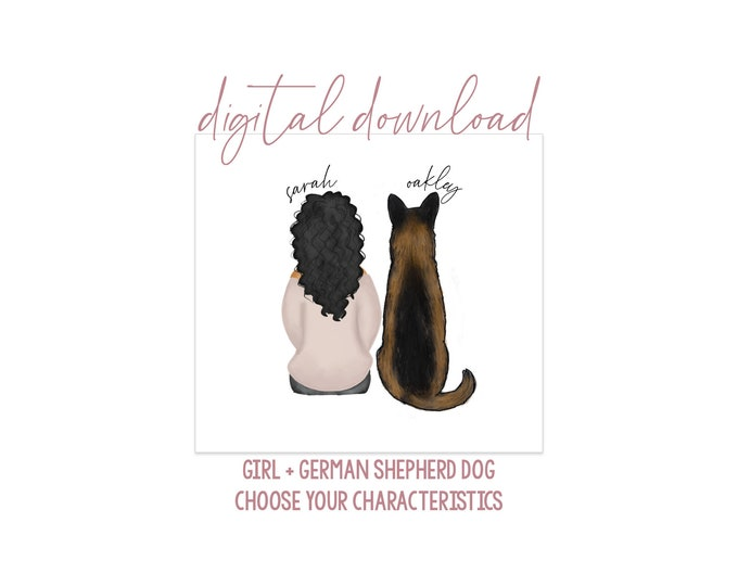 Girl with German Shepherd Artwork - Digital Download - Personalized Girl with Dog - Dog Mom Gift - Dog Mom Portrait - GSD