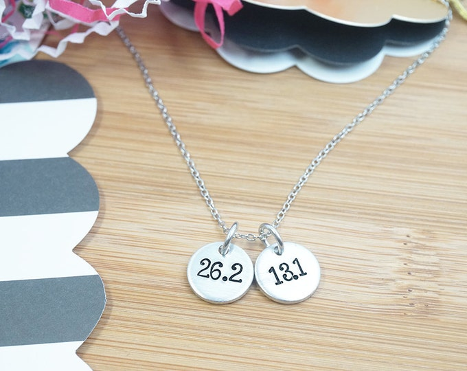 Runner Necklace - Distance Necklace - Half Marathon - Marathon Runner - Marathon Gift - 5K 10K - Runner Gift - Silver Hand Stamped Necklace