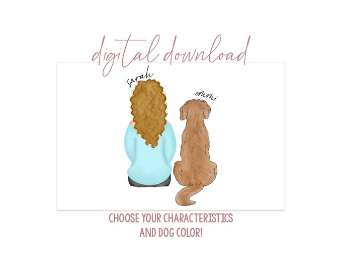 Girl with Golden Retriever Digital Artwork - Digital Download - Personalized Girl with Dog - Dog Mom Gift - Dog Mom Portrait - Dog Portrait