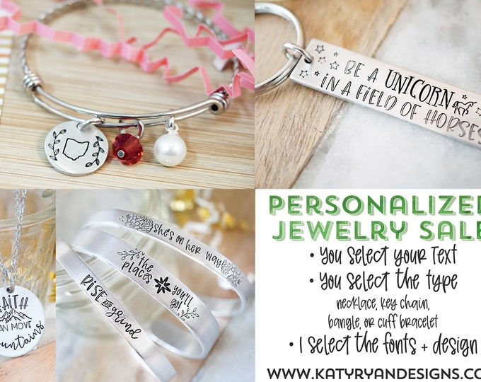 Personalized Jewelry Sale - You Choose Your Text - I Design Your Piece - Hand Stamped Jewelry and Accessories