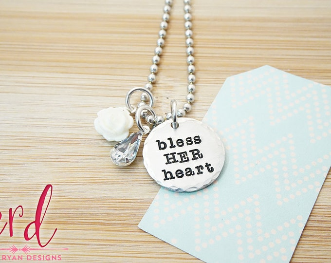 Bless Her Heart Necklace - Hand Stamped