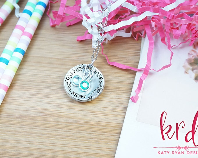 Personalized Dome Necklace - Birthstone Necklace - Mom Necklace - Gifts for Mom - Mommy Jewelry - Silver Tone Hand Stamped Necklace